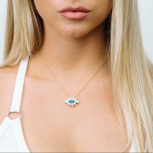 Jewelry - Evil Eye Blue Topaz Cubic Zirconia Dainty Necklace